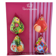 "Lot de 4 magnets mini motif poule ""Matilda"""