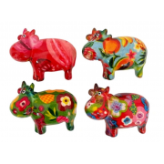 "Lot de 4 magnets mini motif vache ""Bella"""